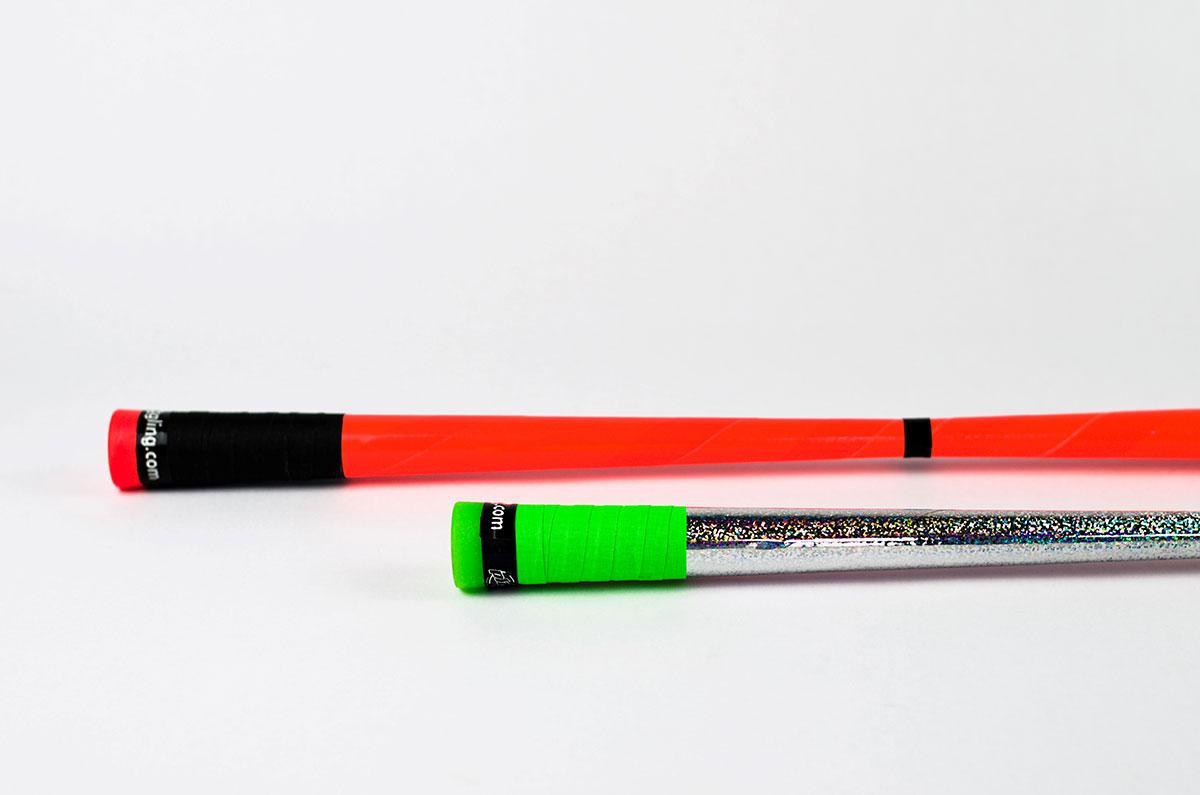 Devilstick – Farben: orange, silber-grün